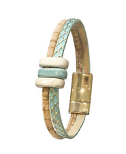 with Woven Gold Detailing Natural & Green Cork Bracelet