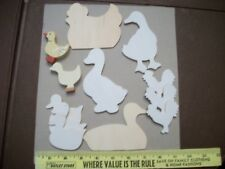 Lot of 11 Unfinished Chicken, Duck Wood pieces TO DECORATE Paint Decoupage Craft