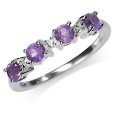 Natural African Amethyst & White Topaz 925 Sterling Silver Journey Ring SZ 8.5