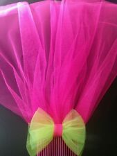 80's Neon Veil with Bow. Comes on hair comb. Handmade. Choose your own colours
