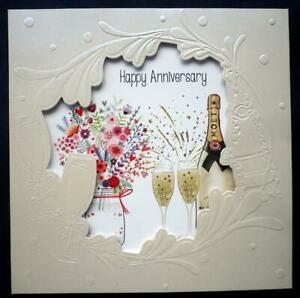Happy Anniversary card with Flowers and Champagne