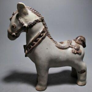 THAI SCULPTURE 'HORSE' FIGURE STONEWARE RELIC TRIBAL NATIVE ARTIFACT SAWANKHALOK