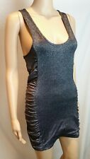 Tigerlily Dress 10 Silver Shiny Glitter Mini Bodycon Racer Back Sleeveless Party