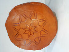 NEW Moroccan Leather Ottoman Pouffe Pouf Footstool  Mid Tan Seat Stool Oriental
