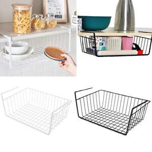 Metal Under Shelf Cabinet Storage Hanging Rack Kitchen Table Basket Organizer
