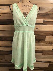 Victoria's Secret GREEN Slip Dress Lingerie Nightgown  LACE Size L