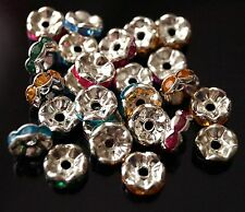 50 Rhinestone Acrylic Rondelle Silver Mixed Colours Wavy Spacer Beads 7mm TSC74