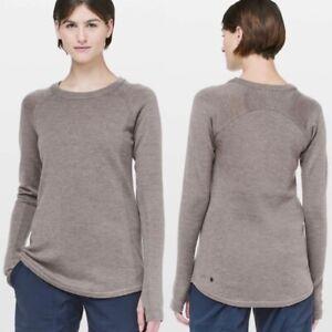 Lululemon Sit In Lotus Merino Wool Knit Sweater Beige Tan Long Sleeve Crew Neck