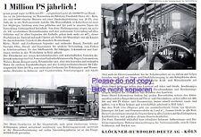 Motorenbau Klöckner Deutz Reklame 1939 Humboldt Lokomotive Motor Köln Werbung +