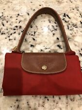 LONGCHAMP Paris Le Pliage Small Bag Tote Red Long Handle for Shoulder NEW w/tag