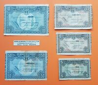 BILBAO 5+10+25+50+100 PESETAS 1937 EUSKADI GUERRA CIVIL EUZKADI 1936 BILLETES R1