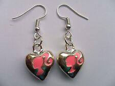 Cute Barbie Heart Silver Earrings
