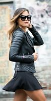 Women's Black Slim Fit Diamond Quilted Biker Real Leather Jacket