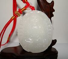 "2.2"" China Certified Nature Afghan White Jade Thousand-Hand Kwan-yin Necklace"