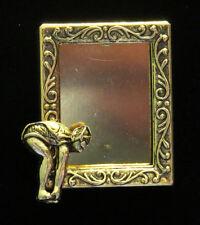Swimmer Diver Female Photo Frame Pin Brooch 24 Karat Gold Plate