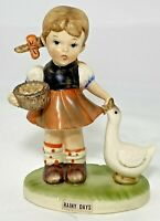 "Royal Crown Rainy Days Figurine Girl With Goose Porcelain 4.75""H x 3.25""L Japan"