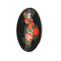"""Red Enamel Floral Poppy Modernist Vanity Dish Tray Bowl 7.75"""""""