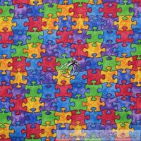 BonEful Fabric FQ Cotton Quilt Rainbow Autism Awareness Puzzle Kid Boy Girl Baby