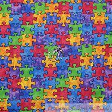 BonEful Fabric FQ Cotton Quilt Rain*bow Autism Awareness Puzzle Pieces S M L Top