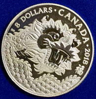 Canada Silver Lunar New Year Dragon $8 Proof 2018 Box and COA BU