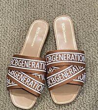 Bcbgeneration Women's Bcbg Krista Kala White Camel Logo Flat Sandals Size 7.5