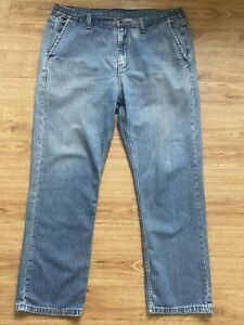 Mens Jeans W38 L30 Cotton Traders Part Elasticated Waistband Straight Blue Fade