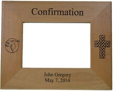 "Confirmation Picture Frame Personalized holds 4"" by 6"" photo Solid Alder Wood"