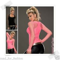 SEXY CLOSE FITTED TOP WITH NET SLEEVES.ONE SIZE; 6/8/10.