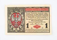 1917 Poland One Marka Note AU German Occupation World War 1 WWI Polish Marki