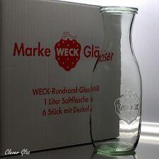 6 X WECK Saftflasche 1 0 L Flasche Glasflasche Einkochglas