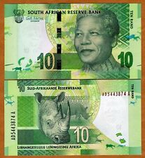 South Africa ND (2012) Nelson Mandela 10 Rand - Rhinoceros image - UNC - P NEW