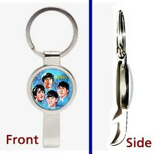 The Beatles 1964 Lunch Box Pennant or Keychain silver tone secret bottle opener