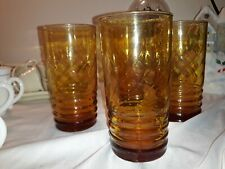 Vintage Old Fashioned Amber Yellow Ribbed Glasses Tumblets
