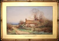 HENRY SYLVESTER STANNARD (1870-1951) LARGE SIGNED WATERCOLOUR CHILDREN COTTAGE