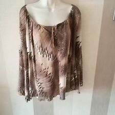 Inspire New Look  Size 24 Brown Chiffon Style Top Floaty Sleeves with split