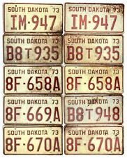 *99 Cent Sale* 1973 South Dakota License Plate Lot Of 10 Incl. Pairs No Reserve