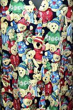 Nurse Vet Tech Dental Scrub V-neck Top Christmas Teddy Bears Long Sleeve Size M