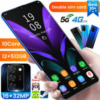 Cheap Note20+ 512GB Unlocked Mobile Smart Phone 5G Face ID Android10 Fingerprint
