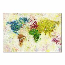 FRAMED CANVAS PRINT Colorful World Map Oil Painting Modern Canvas Wall Art Home