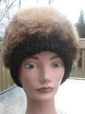 "unisex  montana lynx & BLACK LAMB fur hat size 22"" inches by 6""inches"