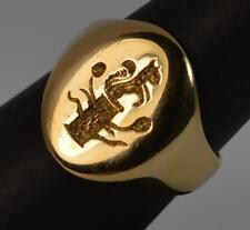 Splendido 18ct sigillo d'oro Anello Con Sigillo SCOIATTOLO GHIANDA Ceppo intaglio Seal d763