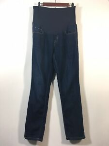 Old Navy Maternity Jeans Women Size 14 Skinny Smooth Panel Dark Wash Blue Denim