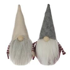Set of 2 Felt Christmas Gonks 20cm - Santa Elf Figure Ornaments Decorations Gonk