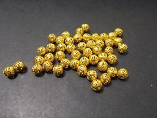 150pcs 8mm FILIGREE Round Hollow Spacer Beads - Metallic GOLD Plated Finding