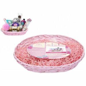 Make Your Own Hamper Kit Pink Basket; Bag; Ribbon; Wood Wool - Mothers Day Gift
