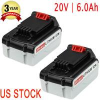 6.0Ah 20V MAX Battery FOR Black & Decker LB2X4020 LBXR20 LBX20 LBX4020 2 packs
