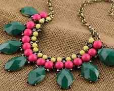 Collar multicolor piedras color verde, amarilla y rosa