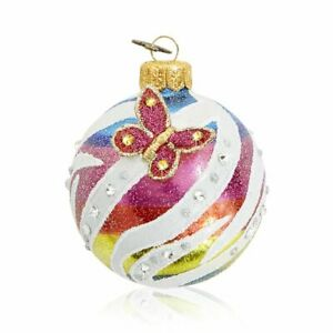 """Jay Strongwater Jeweled 3"""" Glass Ornament With Butterfly SDH20004-202"""