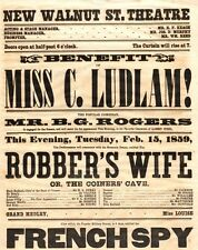 *WALNUT STREET THEATRE 1859 BROADSIDE THE ROBBER'S WIFE & THE FRENCH SPY*