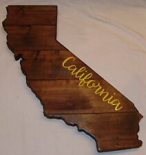 California Large Wood Plaque State Barn Board Wall Hanging Reclaimed Rustic